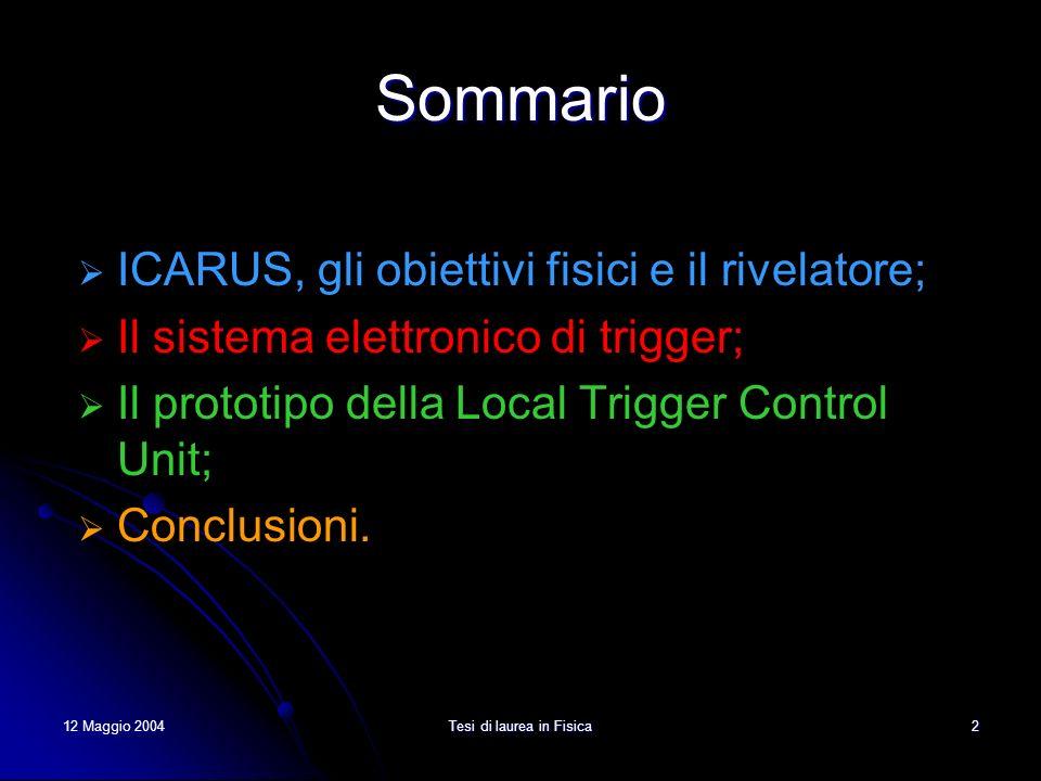 12 Maggio 2004Tesi di laurea in Fisica3 Il progetto ICARUS Il programma di ricerca si basa su due linee principali: oscillazione di neutrino (neutrini solari, atmosferici, da supernova, dal fascio CNGS); decadimento del protone.