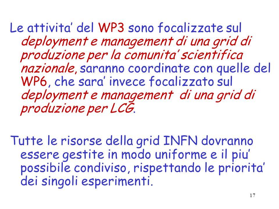 17 Le attivita del WP3 sono focalizzate sul deployment e management di una grid di produzione per la comunita scientifica nazionale, saranno coordinat