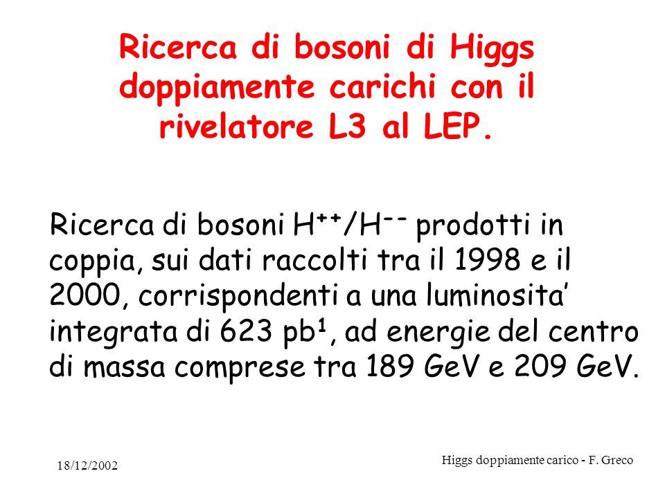 18/12/2002 Higgs doppiamente carico - F. Greco Ricerca di bosoni di Higgs doppiamente carichi con il rivelatore L3 al LEP. Ricerca di bosoni H ++ /H -