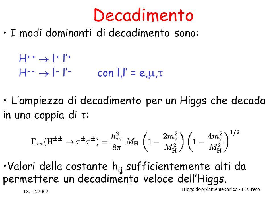 18/12/2002 Higgs doppiamente carico - F. Greco Decadimento I modi dominanti di decadimento sono: H ++ l + l + H -- l - l - con l,l = e,, Lampiezza di
