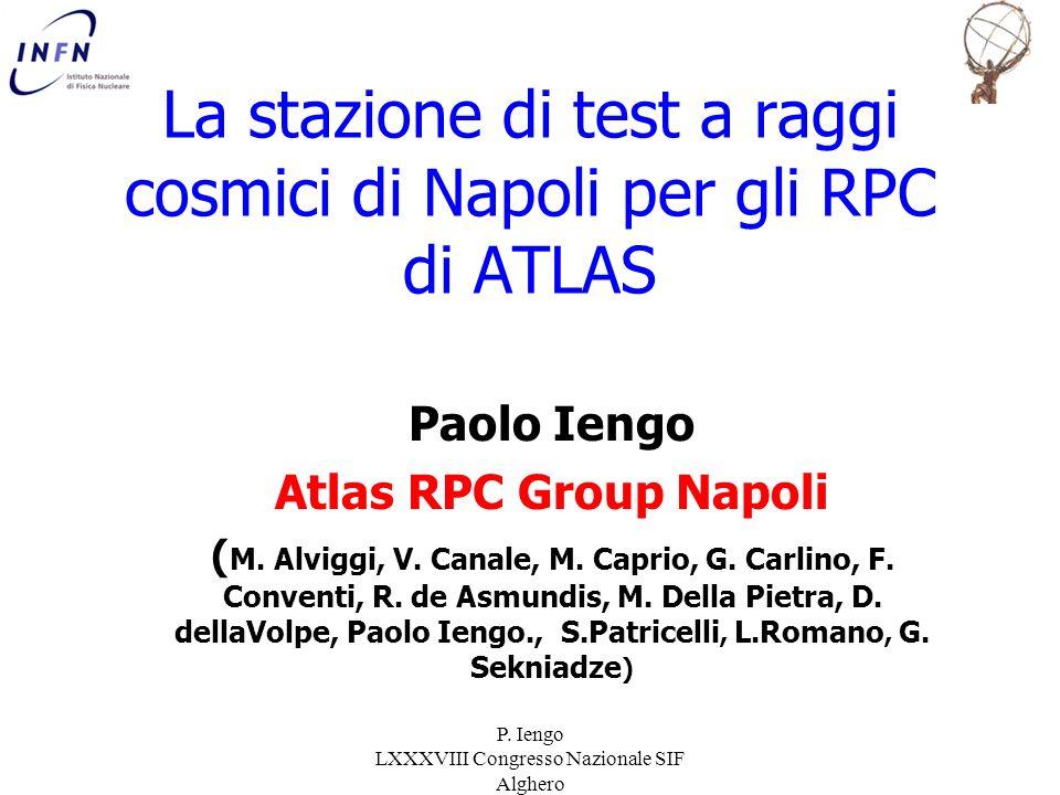 P. Iengo LXXXVIII Congresso Nazionale SIF Alghero La stazione di test a raggi cosmici di Napoli per gli RPC di ATLAS Paolo Iengo Atlas RPC Group Napol