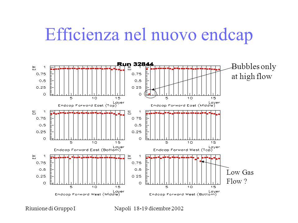 Riunione di Gruppo INapoli 18-19 dicembre 2002 Efficienza nel nuovo endcap Low Gas Flow .