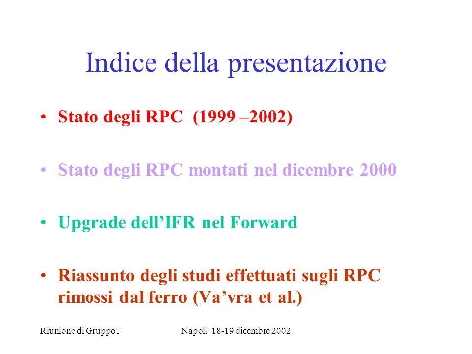 Riunione di Gruppo INapoli 18-19 dicembre 2002 Indice della presentazione Stato degli RPC (1999 –2002) Stato degli RPC montati nel dicembre 2000 Upgrade dellIFR nel Forward Riassunto degli studi effettuati sugli RPC rimossi dal ferro (Vavra et al.)