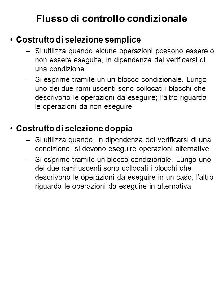 Flusso di controllo condizionale Costrutto di selezione semplice –Si utilizza quando alcune operazioni possono essere o non essere eseguite, in dipendenza del verificarsi di una condizione –Si esprime tramite un un blocco condizionale.