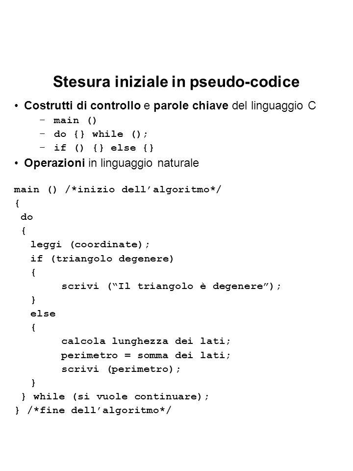 Stesura iniziale in pseudo-codice Costrutti di controllo e parole chiave del linguaggio C –main () –do {} while (); –if () {} else {} Operazioni in linguaggio naturale main () /*inizio dellalgoritmo*/ { do { leggi (coordinate); if (triangolo degenere) { scrivi (Il triangolo è degenere); } else { calcola lunghezza dei lati; perimetro = somma dei lati; scrivi (perimetro); } } while (si vuole continuare); } /*fine dellalgoritmo*/