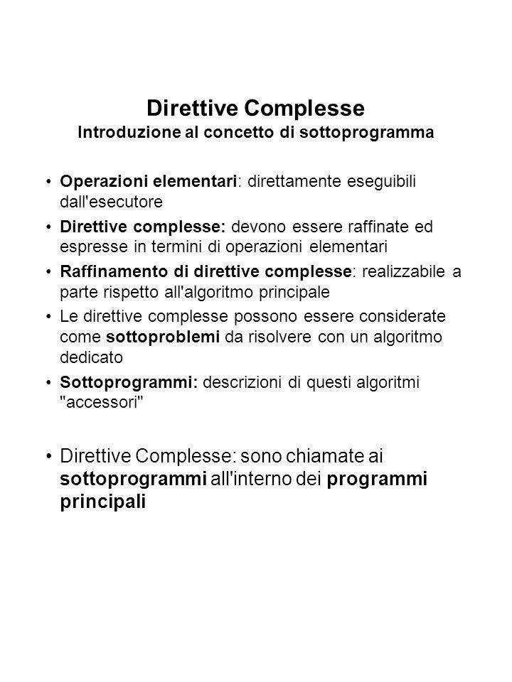 Direttive Complesse Introduzione al concetto di sottoprogramma Operazioni elementari: direttamente eseguibili dall esecutore Direttive complesse: devono essere raffinate ed espresse in termini di operazioni elementari Raffinamento di direttive complesse: realizzabile a parte rispetto all algoritmo principale Le direttive complesse possono essere considerate come sottoproblemi da risolvere con un algoritmo dedicato Sottoprogrammi: descrizioni di questi algoritmi accessori Direttive Complesse: sono chiamate ai sottoprogrammi all interno dei programmi principali