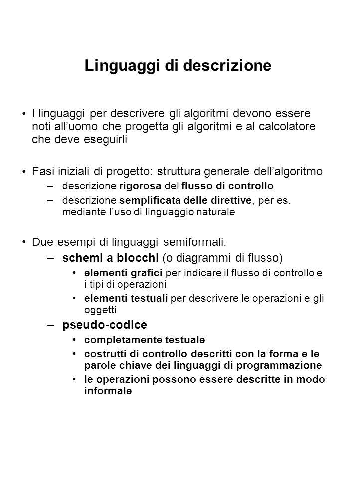 Linguaggi di descrizione I linguaggi per descrivere gli algoritmi devono essere noti alluomo che progetta gli algoritmi e al calcolatore che deve eseg