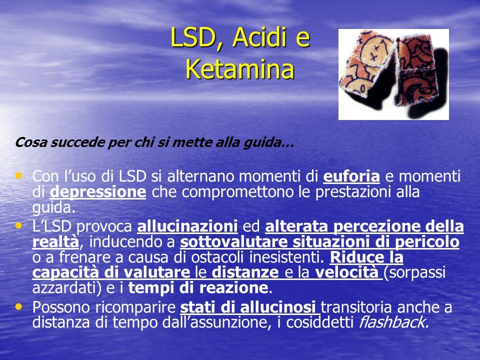 LSD, Acidi e Ketamina Cosa succede per chi si mette alla guida… Con luso di LSD si alternano momenti di euforia e momenti di depressione che compromet