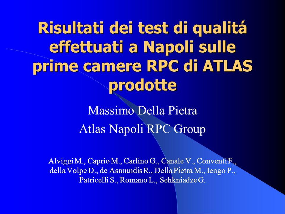 Risultati dei test di qualitá effettuati a Napoli sulle prime camere RPC di ATLAS prodotte Massimo Della Pietra Atlas Napoli RPC Group Alviggi M., Cap