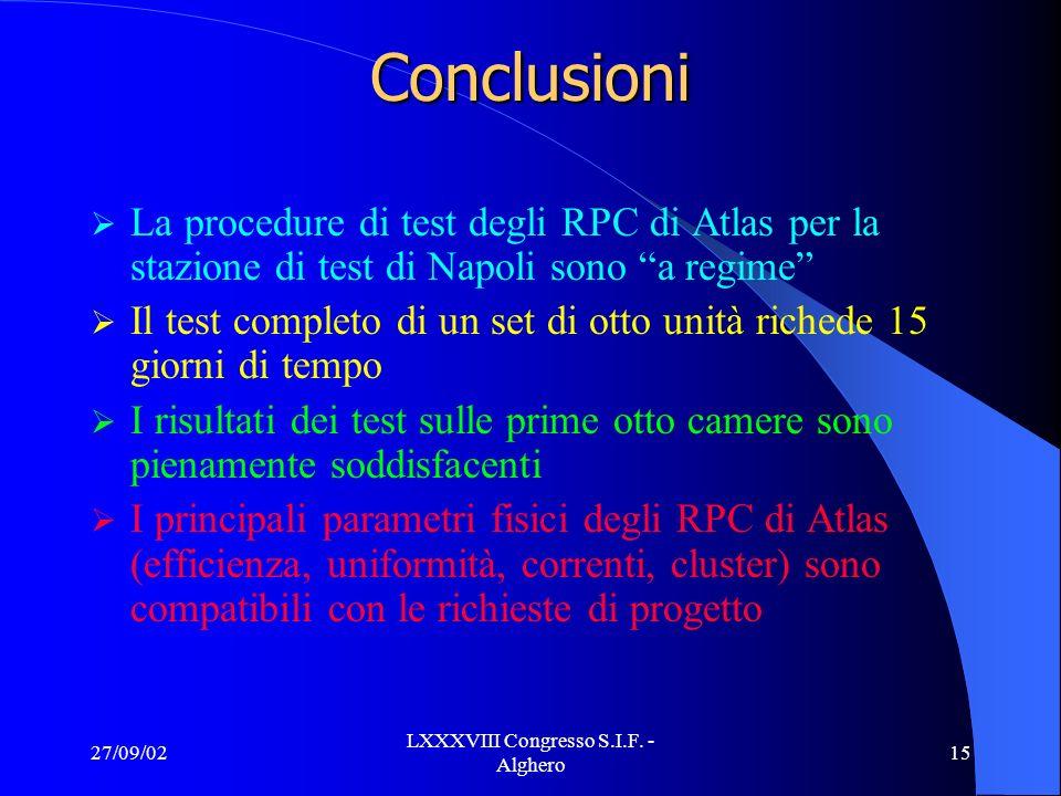 27/09/02 LXXXVIII Congresso S.I.F. - Alghero 15 Conclusioni La procedure di test degli RPC di Atlas per la stazione di test di Napoli sono a regime Il