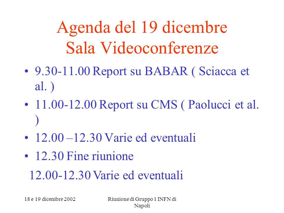 18 e 19 dicembre 2002Riunione di Gruppo 1 INFN di Napoli Agenda del 19 dicembre Sala Videoconferenze 9.30-11.00 Report su BABAR ( Sciacca et al.