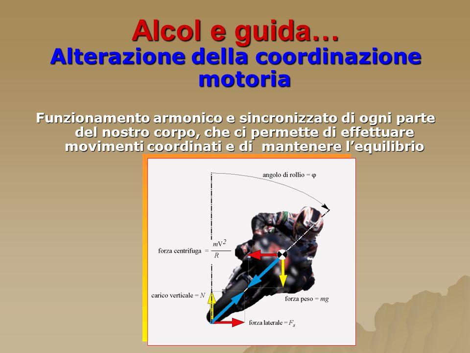 Alcol e guida… Alterazione della coordinazione motoria Funzionamento armonico e sincronizzato di ogni parte del nostro corpo, che ci permette di effet