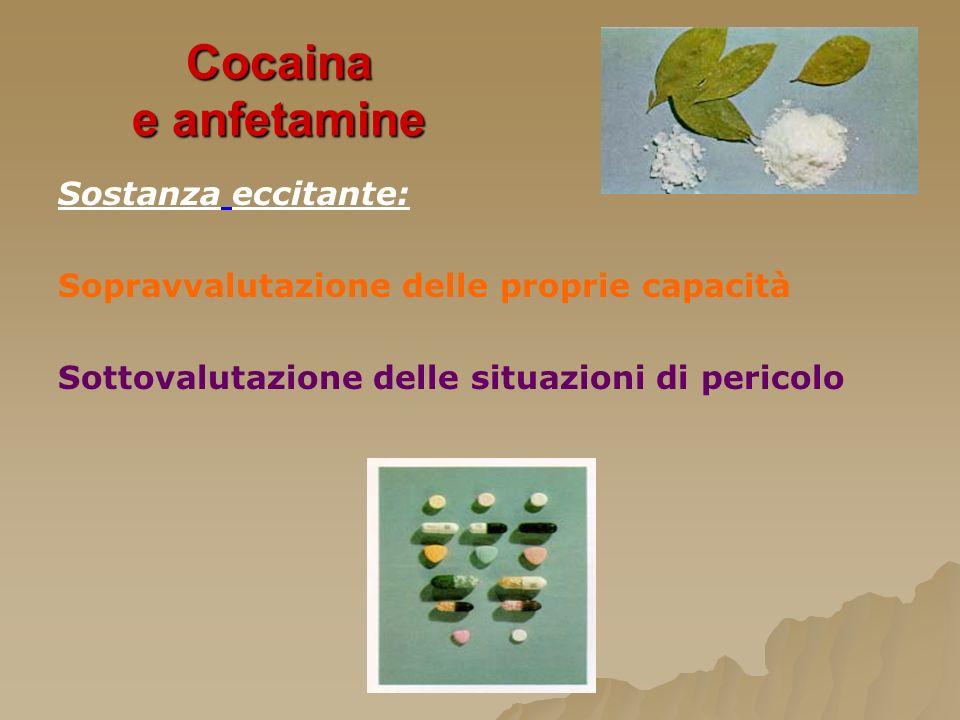 Cocaina e anfetamine Sostanza eccitante: Sopravvalutazione delle proprie capacità Sottovalutazione delle situazioni di pericolo