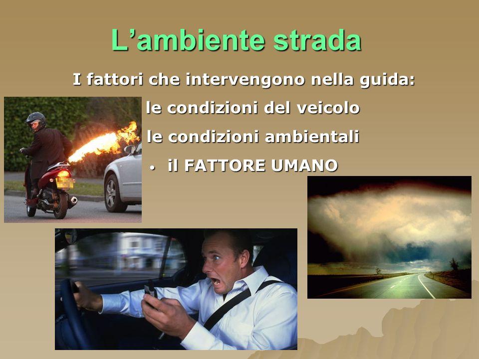 Lambiente strada I fattori che intervengono nella guida: le condizioni del veicolo le condizioni del veicolo le condizioni ambientali le condizioni am