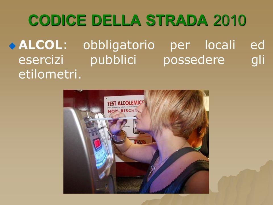 CODICE DELLA STRADA 2010 ALCOL: obbligatorio per locali ed esercizi pubblici possedere gli etilometri.