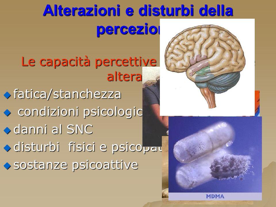 Alterazioni e disturbi della percezione: Le capacità percettive possono essere alterate da: fatica/stanchezza fatica/stanchezza condizioni psicologich