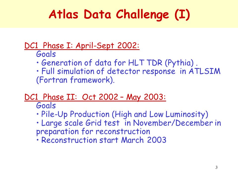 4 Atlas Data Challenge (II) DC2: Q3/2003 – Q2/2004: –Goals Full deployment of Event Data Model & Detector Description Geant4 replacing Geant3 Pile-up in Athena ( OO framework) Test the calibration and alignment procedures Use LCG common software Use widely GRID middleware Perform large scale physics analysis –Scale As for DC1: ~ 10**7 fully simulated events