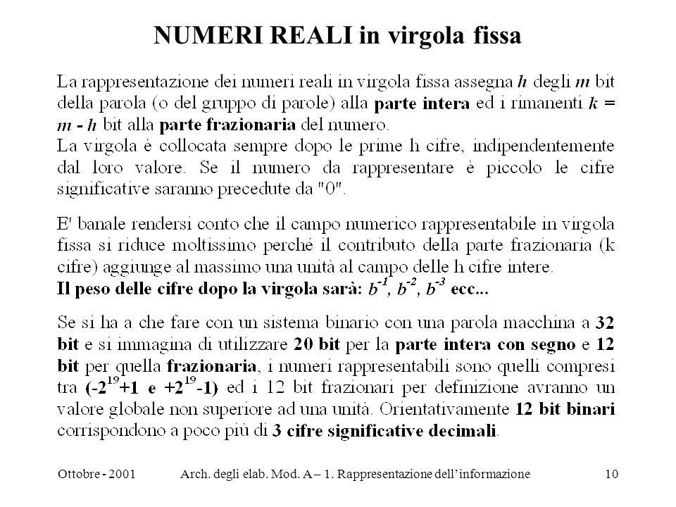 Ottobre - 2001Arch. degli elab. Mod. A – 1. Rappresentazione dellinformazione10 NUMERI REALI in virgola fissa