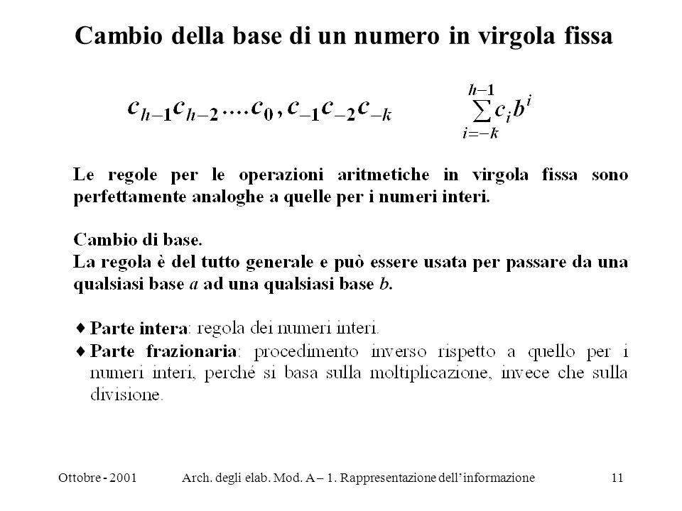Ottobre - 2001Arch. degli elab. Mod. A – 1. Rappresentazione dellinformazione11 Cambio della base di un numero in virgola fissa