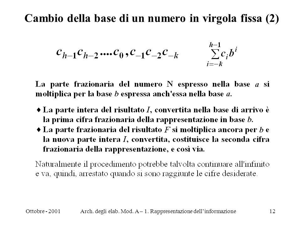 Ottobre - 2001Arch. degli elab. Mod. A – 1. Rappresentazione dellinformazione12 Cambio della base di un numero in virgola fissa (2)