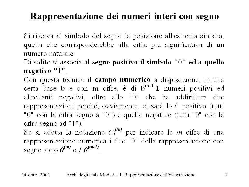 Ottobre - 2001Arch. degli elab. Mod. A – 1. Rappresentazione dellinformazione2 Rappresentazione dei numeri interi con segno