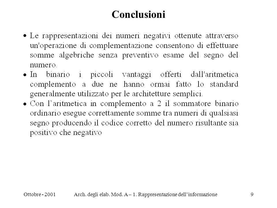 Ottobre - 2001Arch. degli elab. Mod. A – 1. Rappresentazione dellinformazione9 Conclusioni