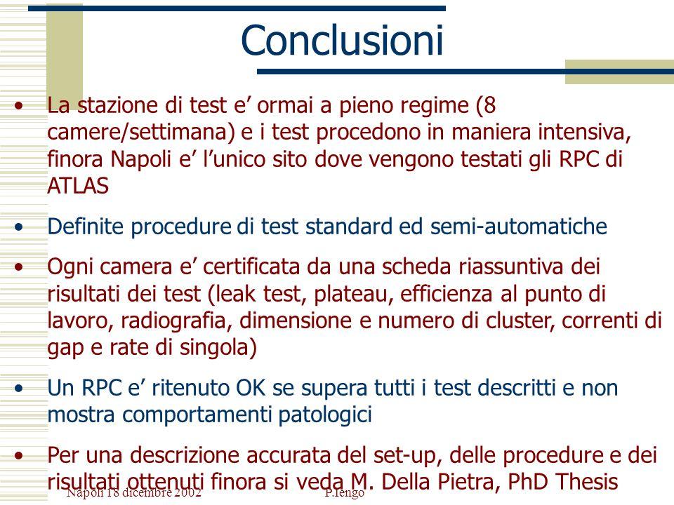 Napoli 18 dicembre 2002 P.Iengo Conclusioni La stazione di test e ormai a pieno regime (8 camere/settimana) e i test procedono in maniera intensiva, f