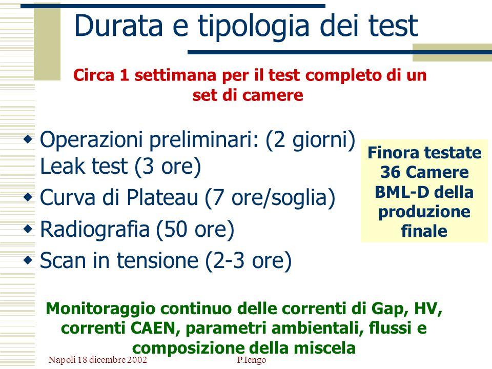 Napoli 18 dicembre 2002 P.Iengo Durata e tipologia dei test Operazioni preliminari: (2 giorni) Leak test (3 ore) Curva di Plateau (7 ore/soglia) Radio