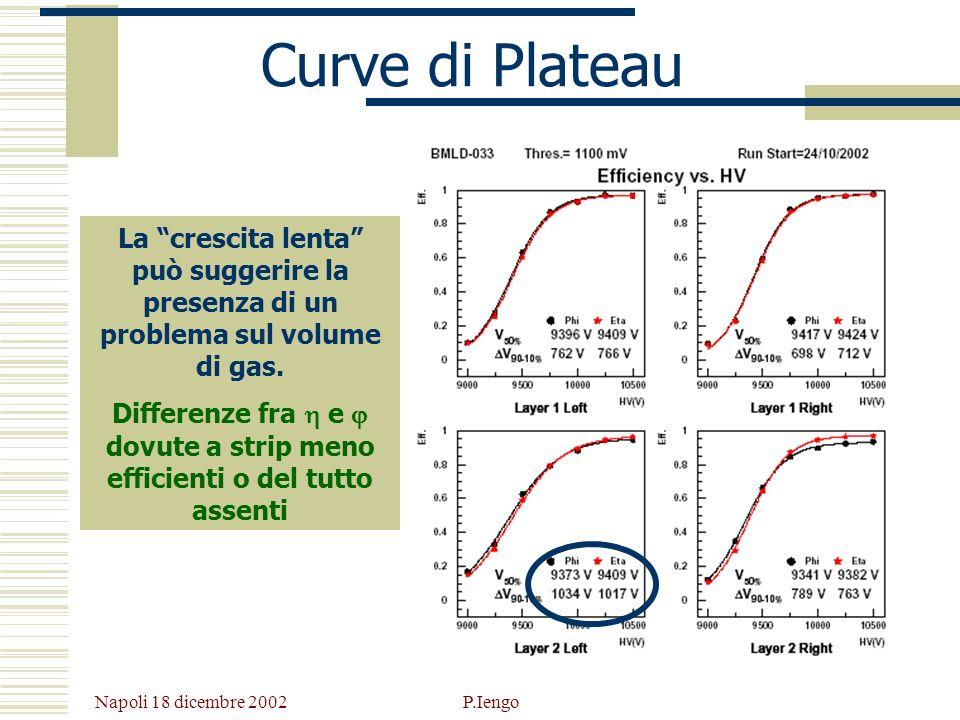 Napoli 18 dicembre 2002 P.Iengo Curve di Plateau La crescita lenta può suggerire la presenza di un problema sul volume di gas. Differenze fra e dovute