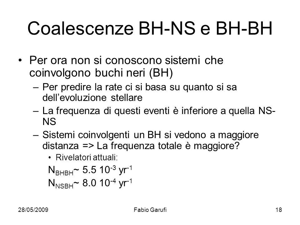 28/05/2009Fabio Garufi18 Coalescenze BH-NS e BH-BH Per ora non si conoscono sistemi che coinvolgono buchi neri (BH) –Per predire la rate ci si basa su