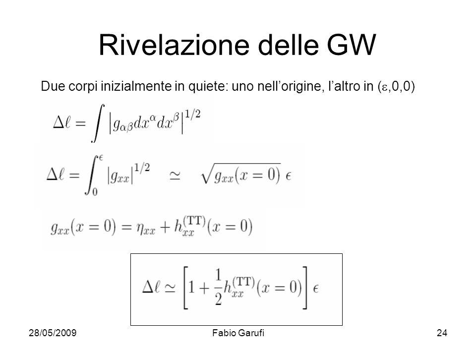 28/05/2009Fabio Garufi24 Rivelazione delle GW Due corpi inizialmente in quiete: uno nellorigine, laltro in (,0,0)