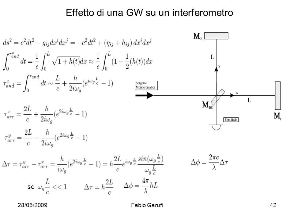 28/05/2009Fabio Garufi42 se Effetto di una GW su un interferometro