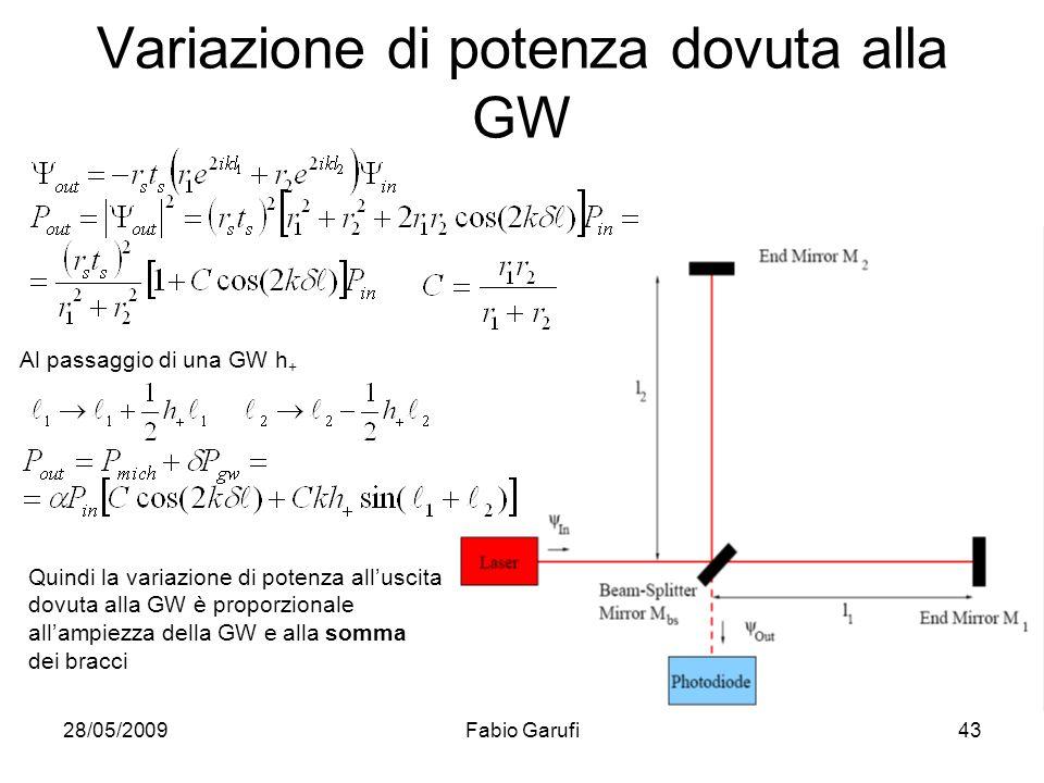 28/05/2009Fabio Garufi43 Variazione di potenza dovuta alla GW Al passaggio di una GW h + Quindi la variazione di potenza alluscita dovuta alla GW è pr