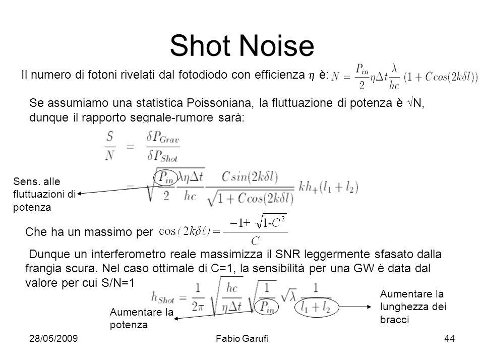 28/05/2009Fabio Garufi44 Shot Noise Il numero di fotoni rivelati dal fotodiodo con efficienza è: Se assumiamo una statistica Poissoniana, la fluttuazi