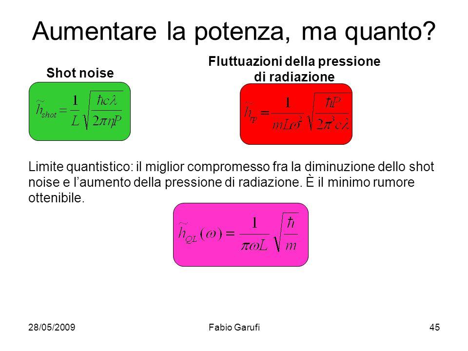 28/05/2009Fabio Garufi45 Aumentare la potenza, ma quanto? Shot noise Fluttuazioni della pressione di radiazione Limite quantistico: il miglior comprom