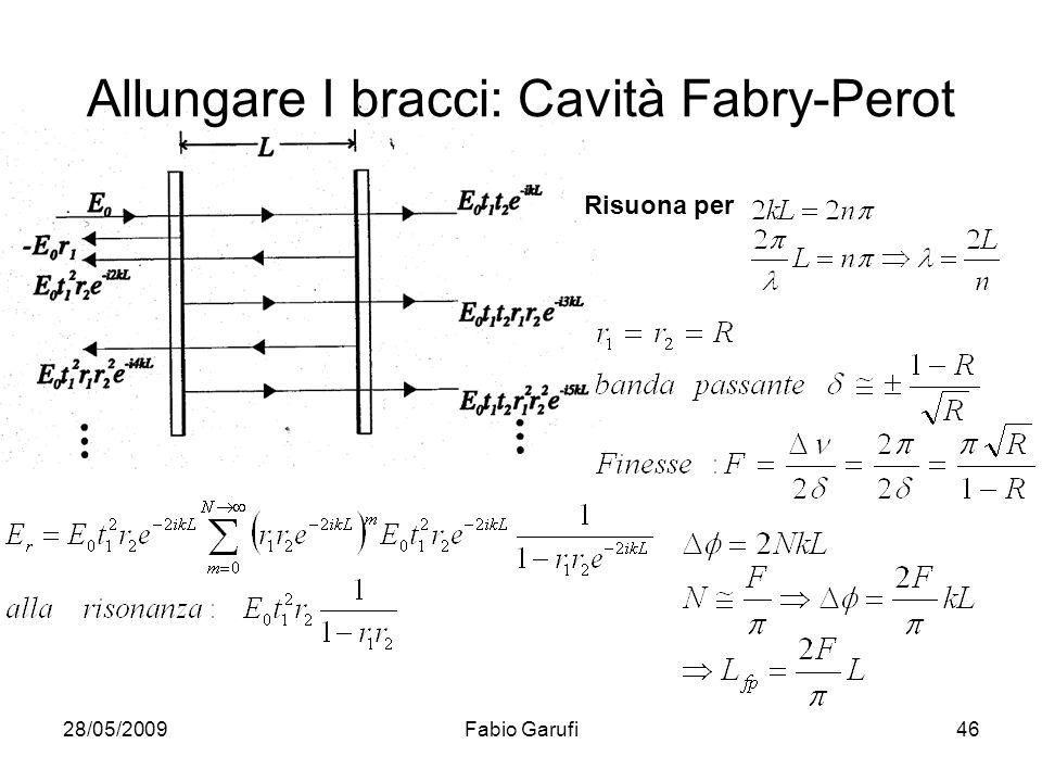 28/05/2009Fabio Garufi46 Allungare I bracci: Cavità Fabry-Perot Risuona per