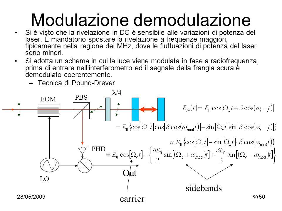 28/05/2009Fabio Garufi50 Modulazione demodulazione Si è visto che la rivelazione in DC è sensibile alle variazioni di potenza del laser. È mandatorio