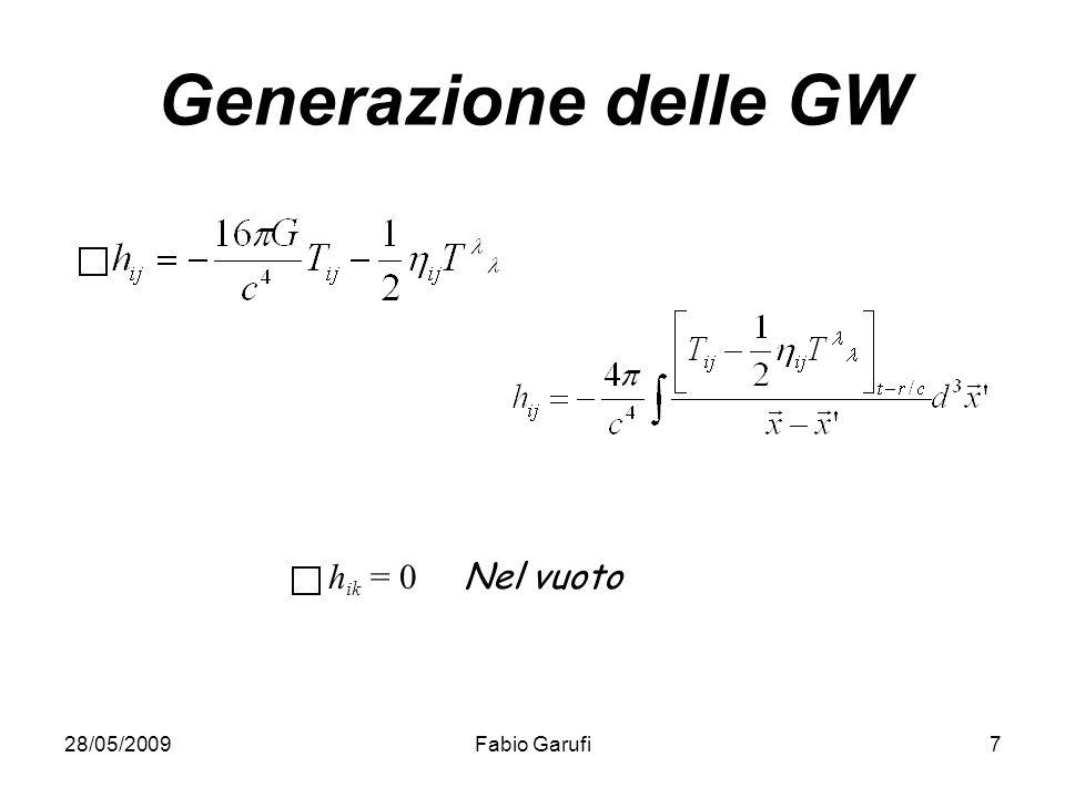 28/05/2009Fabio Garufi7 Generazione delle GW h ik = 0 Nel vuoto