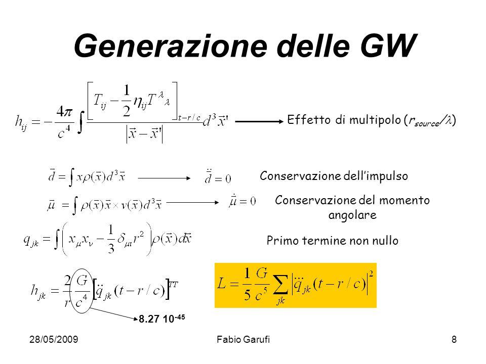 28/05/2009Fabio Garufi8 Generazione delle GW Effetto di multipolo (r source / ) Conservazione dellimpulso Conservazione del momento angolare Primo ter