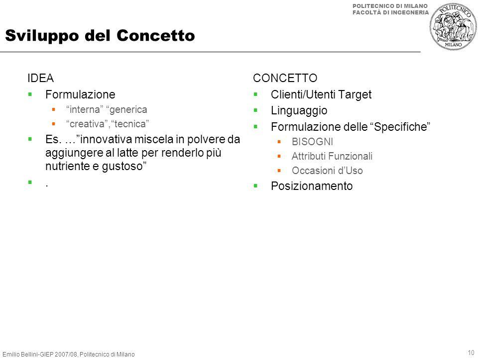 Emilio Bellini-GIEP 2007/08, Politecnico di Milano POLITECNICO DI MILANO FACOLTÀ DI INGEGNERIA 10 Sviluppo del Concetto IDEA Formulazione interna gene