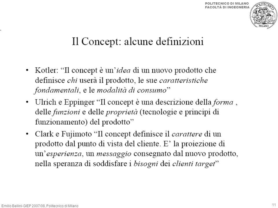 Emilio Bellini-GIEP 2007/08, Politecnico di Milano POLITECNICO DI MILANO FACOLTÀ DI INGEGNERIA 11