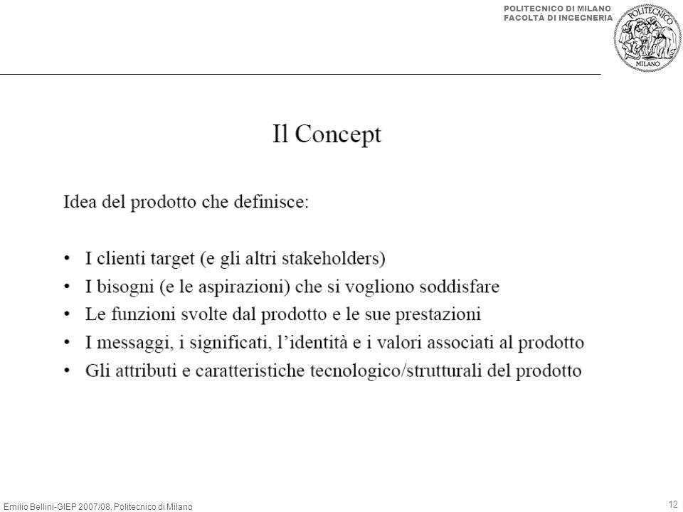 Emilio Bellini-GIEP 2007/08, Politecnico di Milano POLITECNICO DI MILANO FACOLTÀ DI INGEGNERIA 12