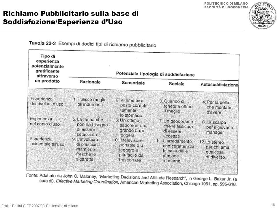 Emilio Bellini-GIEP 2007/08, Politecnico di Milano POLITECNICO DI MILANO FACOLTÀ DI INGEGNERIA 18 Richiamo Pubblicitario sulla base di Soddisfazione/E