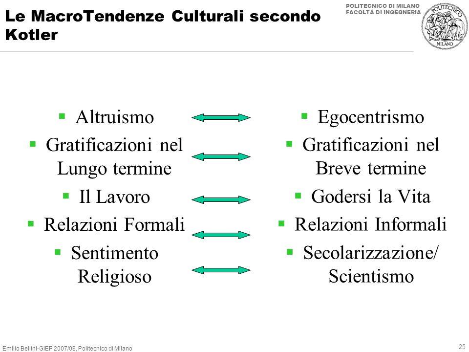 Emilio Bellini-GIEP 2007/08, Politecnico di Milano POLITECNICO DI MILANO FACOLTÀ DI INGEGNERIA 25 Le MacroTendenze Culturali secondo Kotler Altruismo