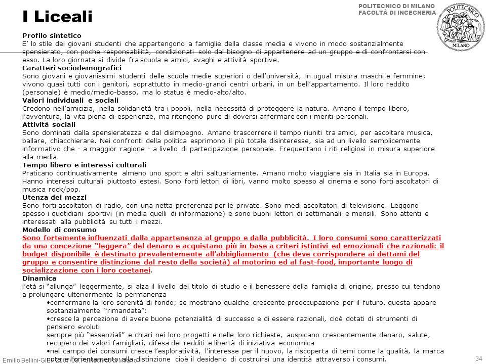 Emilio Bellini-GIEP 2007/08, Politecnico di Milano POLITECNICO DI MILANO FACOLTÀ DI INGEGNERIA 34 I Liceali Profilo sintetico E lo stile dei giovani s