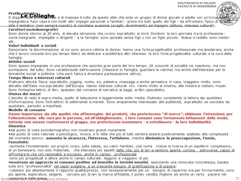 Emilio Bellini-GIEP 2007/08, Politecnico di Milano POLITECNICO DI MILANO FACOLTÀ DI INGEGNERIA 35 Le Colleghe Profilo sintetico Il doppio ruolo profes