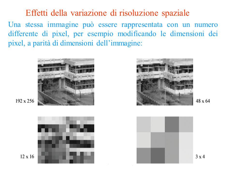 16 La risoluzione spaziale è il più piccolo dettaglio distinguibile in una immagine: il rapporto tra dimensione dellimmagine e numero di punti che uti