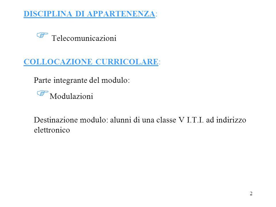 2 DISCIPLINA DI APPARTENENZA: Telecomunicazioni COLLOCAZIONE CURRICOLARE: Parte integrante del modulo: Modulazioni Destinazione modulo: alunni di una classe V I.T.I.