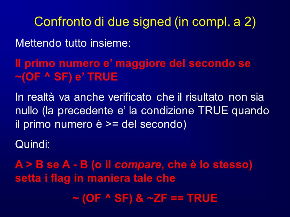 Confronto di due signed (in compl.