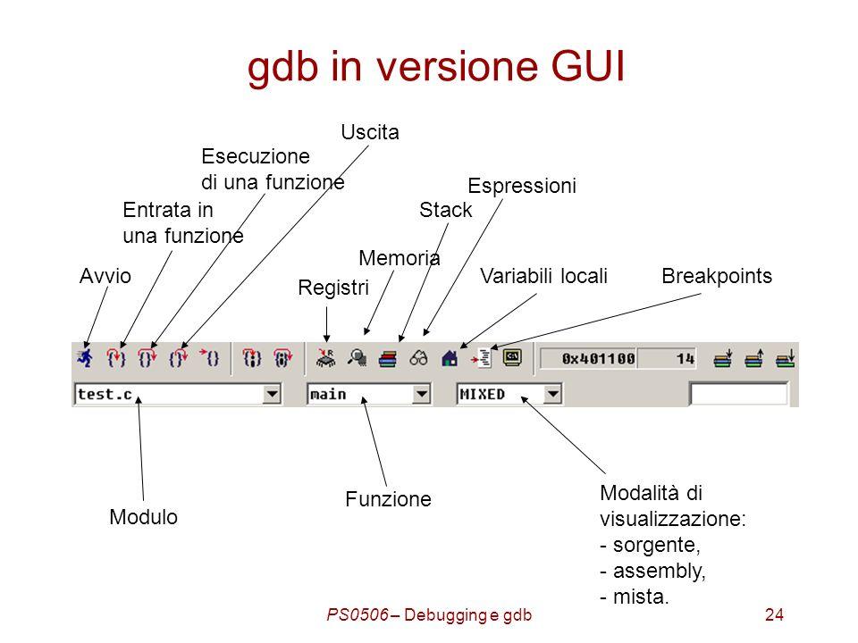 PS0506 – Debugging e gdb24 gdb in versione GUI Modalità di visualizzazione: - sorgente, - assembly, - mista.